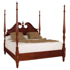 cherry grove queen rice carved pediment poster bed by american