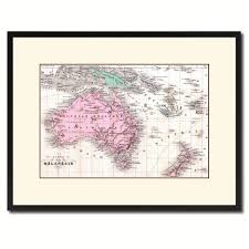 new zealand oceania australia vintage antique map wall art home