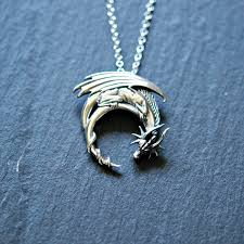 necklace dragon images Sterling silver dragon necklace winged dragon on moon jpg
