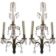 Two Light Wall Sconce Pair Of Crystal Two Light Wall Sconces With Crystal Drops
