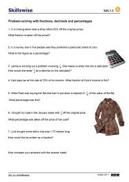 Multiplying Fractions By Whole Numbers Worksheets Problem Solving With Fractions Decimals And Percentages