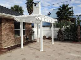 White Vinyl Pergola by Engineered Vinyl Pergola Kit With Square Posts Florida