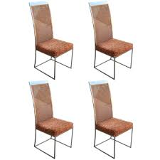 Milo Classic Leather Lounge Chair Set Of Four Milo Baughman Chrome And Cane Dining Chairs