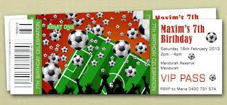 ticket style sports soccer birthday invitations you print