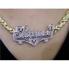 nameplate necklace plated nikfine personalized 14k gp name plate necklace xoxo chain 3d a3