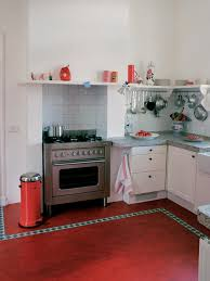 kitchen floor red and retro kitchen theme white ceramic tile