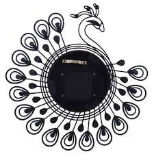 Decorative Wall Clocks For Living Room Amazon Com Winnereco Metal 3d Wall Clock Crystal Diamond Peacock