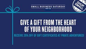 gift cards for small business small business saturday discount pirate adventures