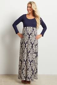 maxi dress with sleeves navy blue damask colorblock sleeve maxi dress
