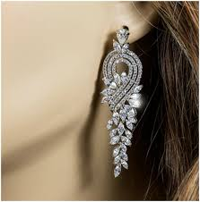 Cubic Zirconia Chandelier Earrings Delphina Vintage Cluster Dangle Chandelier Earrings Cubic