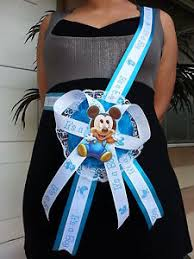 corsage de baby shower baby shower mickey mouse to be it s a boy sash blue ribbon