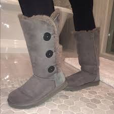 ugg boots 18 ugg boots bailey button triplet ugg boots grey from