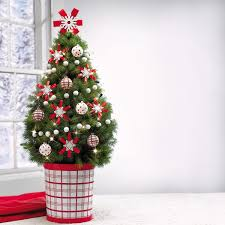 xmas decoration ideas simple decoration ideas small christmas tree in red and white pot