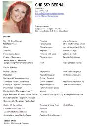 theatre resume template model resume examples makeup artist resume examples fresher resume sample modeling resumes qualifications resume sample child acting chrissy bernal resume pic 1 page 001 sample
