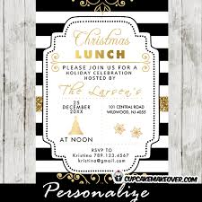 lunch invitations christmas lunch invitations gold black and white cupcakemakeover