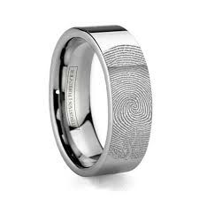 fields wedding rings 6mm 8mm custom fingerprint tungsten wedding band