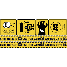 Pixar Monsters Inc Caution Signs Giant Wall Decals