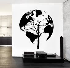 World Map Wall Decal Wall Decal World Map Tree Cool Abstract Vinyl Sticker Z3248