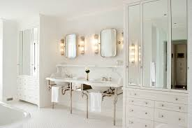 mirrored cabinet doors bathroom traditional with bathroom lighting