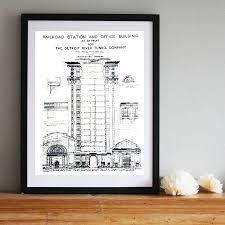 What Size Paper Are Blueprints Printed On Blueprint Art Print Detroit Train Station By Cyberoptix