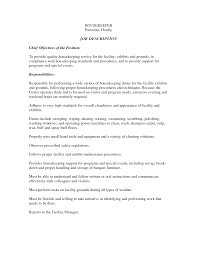 Resume Sample Housekeeping by Fascinating Housekeeping Resume Objective Sample With Additional
