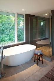 Small Bathroom With Freestanding Tub Freestanding Tub Ideas Bathroom Contemporary With Concrete Floor