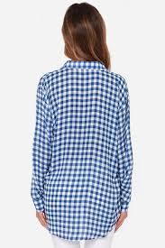 Black And White Plaid Shirt Womens Shirt Ladieswear Long Big Size Women Blouses And Shirts Blue