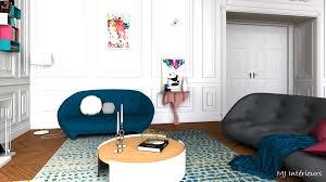 ligne roset canap ploum salon coloré au design contemporain dans un appartement de style