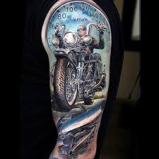 Tattoo Designs Half Sleeve Ideas 70 Biker Tattoos For Men Manly Motorcycle Ink Design Ideas