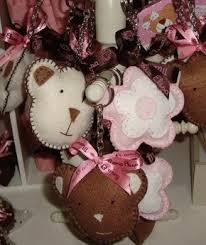 Baby Keychains Pink And Brown Baby Shower