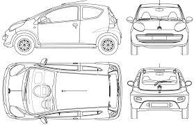 2005 citroen c1 3 door hatchback blueprints free outlines