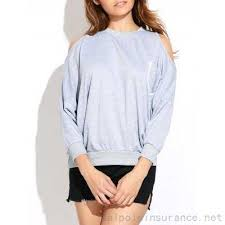 light gray casual front pocket cold shoulder sweatshirt 23 93