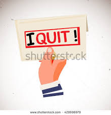 hand holding envelope text i quit stock vector 420696979