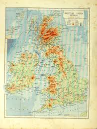 Spain Portugal Map by 14 Print 1912 Map British Isles Physical Spain Portugal Balearic