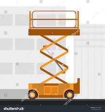 aerial man scissor lift crane construction stock vector 407155453