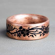 rings engraved images American walnut with engraved floral vine northwood rings jpg