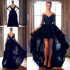 2018 black mildde east half long sleeves high low prom dresses