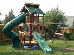 decorating wooden playsets with swing sets with bkue roof design