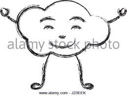 monochrome contour of caricature of the cloud smiling with arms