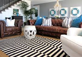 Area Rugs With Brown Leather Furniture Cold And Bright Black And White Rug That Create Luxurious Look