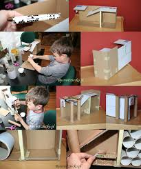car garage made from toilet rolls and cardboard boxes bystre dziecko