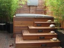 outdoor jacuzzi with stairs lights for my new home pinterest