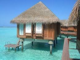 over water bungalow and the turquoise sea at the maldives places