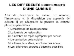 necessaire de cuisine les principaux equipements utilises en cuisine ppt