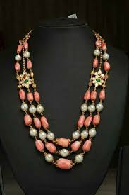 beaded coral necklace images Pearl coral necklace with diamond emerald ruby mogappu bling jpg