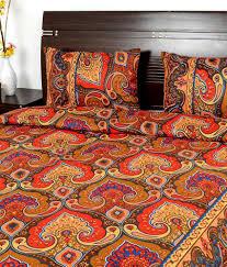 Cotton Single Bed Sheets Online India Rajasthani Sarees Sanganeri Red Printed Cotton Bedsheet Buy
