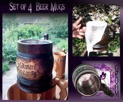 4 custom groomsman beer mugs rustic wedding beer