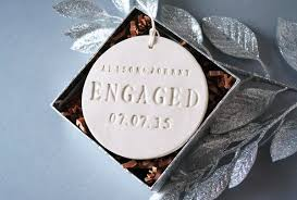 engagement ornament engagement gift with names and date gift box