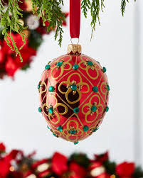 shiny egg ornament with floral and detail