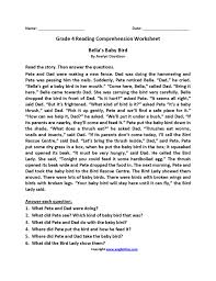 reading comprehension grade 4 worksheets level 4 reading comprehension worksheets semnext
